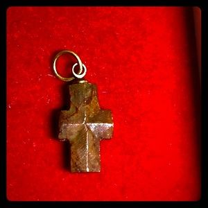 Small Vintage Carved Stone Cross Pendant